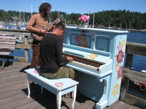 During the summer several brightly painted pianos were placed around town for anyone to play.