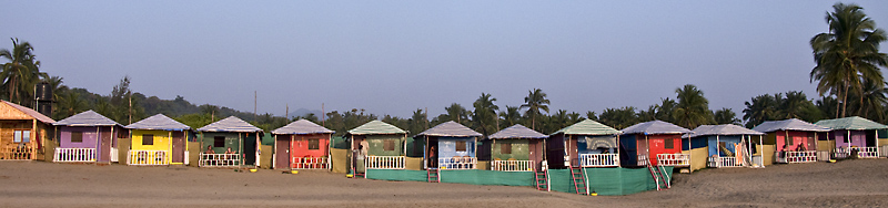 Colorful cottages Agonda Beach in Goa, India.