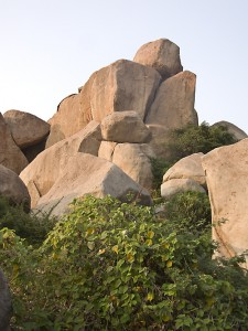 A formation of giant boulders in Hampi.