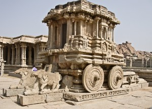 Carved stone shrine in the form of a chariot, Hampi.