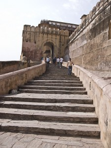 Steps leading into the Amber Fort, Jaipur.
