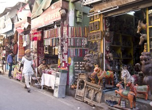 Bazaar along Pushkar street seling handicrafts.
