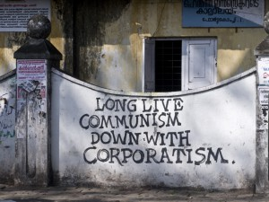 Pro-Communist slogan on a wall in Fort Kochi, Kerala.
