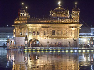 The Golden Temple in Amritsar at night.