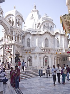 The ISKCON (Hare Krishna) temple in Vrindavan, India.
